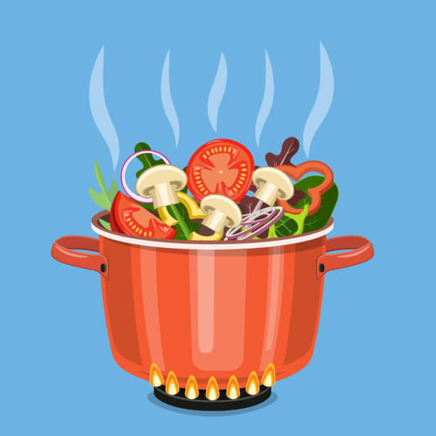 Royalty Free Cartoon Of A Pot Boiling Water Clip Art ...
