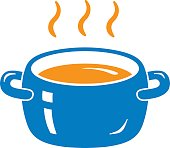 Cooking pot or tureen with hot food vector icon isolated