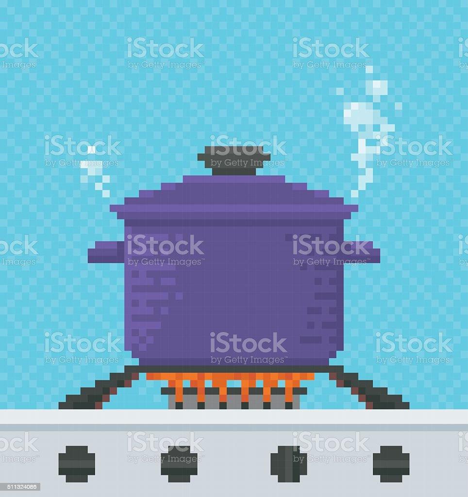 Cooking Pot Pixel Art Illustration Stock Vector Art & More Images of ...