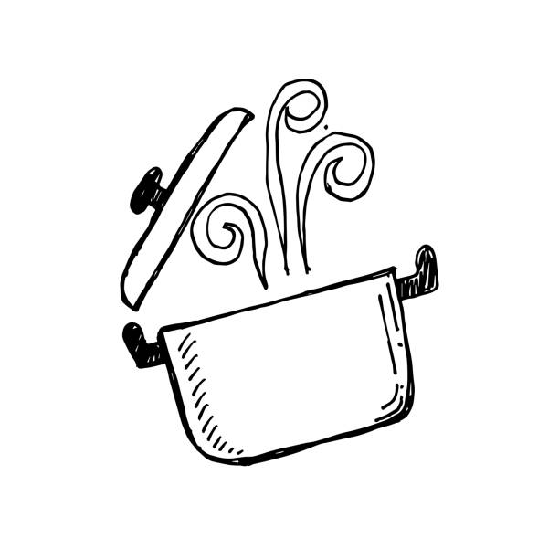 cooking pot cooking pot. eps 10 vector file cooking drawings stock illustrations