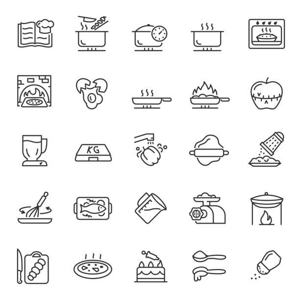 bildbanksillustrationer, clip art samt tecknat material och ikoner med matlagning, matlagning, matlagning, linjär ikonuppsättning. attribut, matlagningsverktyg och ingredienser, recept. linje med redigerbar linje - frying pan
