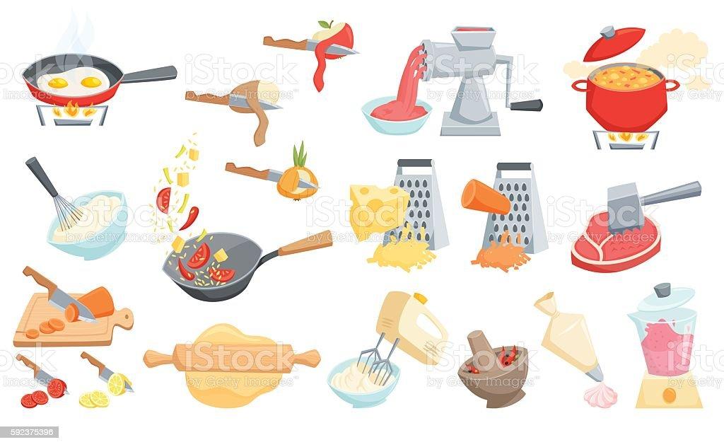 Cooking process set vector art illustration