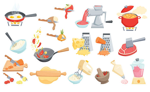 Cooking process set Cooking process set: cook soup, smoothie in blender, mixer whipped cream, grated cheese, wok pan fry, curry paste mortar, rolling pin dough, peel or cut vegetable, meat grinder and hammer, cook cake. grater utensil stock illustrations