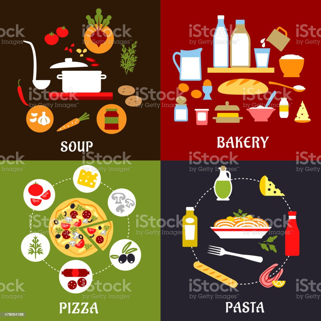 Cooking processes of vegetarian and fast food vector art illustration