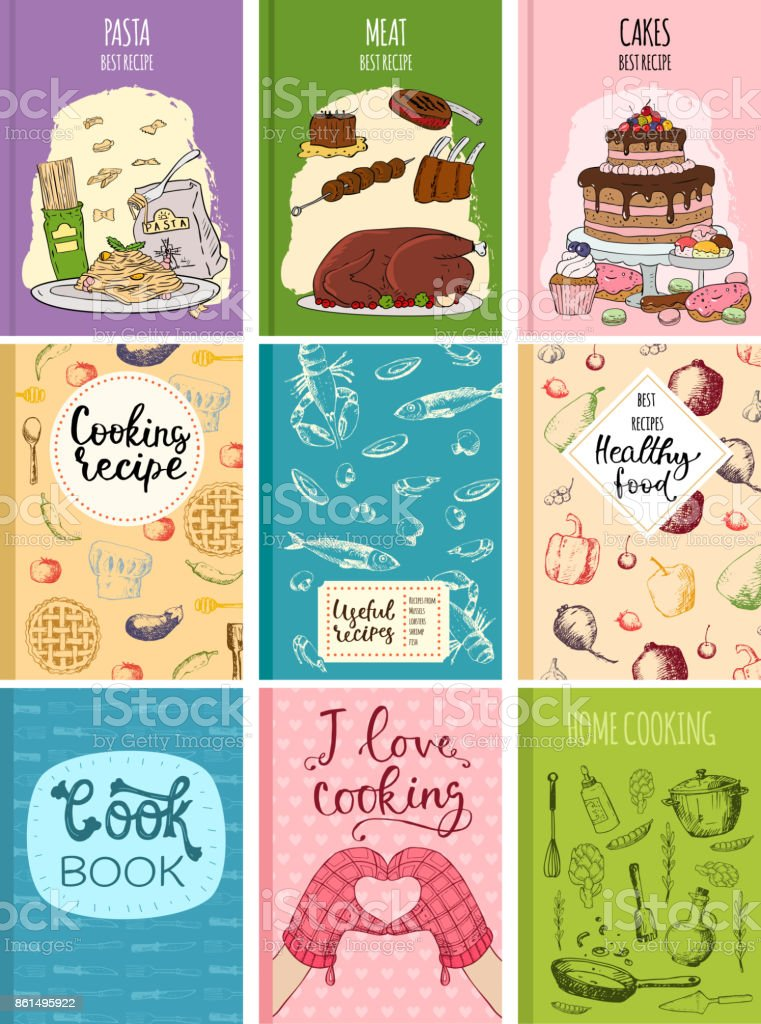 Cooking Recipe Books Cover Kitchen Design Cards Template Hand Drawn  Culinary Cookie Notes With Doodle Kitchen