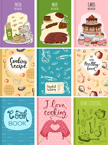 Cooking recipe books cover kitchen design cards template hand drawn culinary cookie notes with doodle kitchen utensils vector illustration