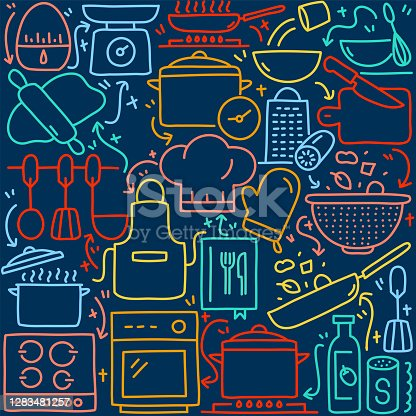 istock Cooking Related Doodle Illustration 1283481257