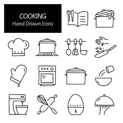 Cooking Related Hand Drawn Icons, Doodle Elements Vector Illustration
