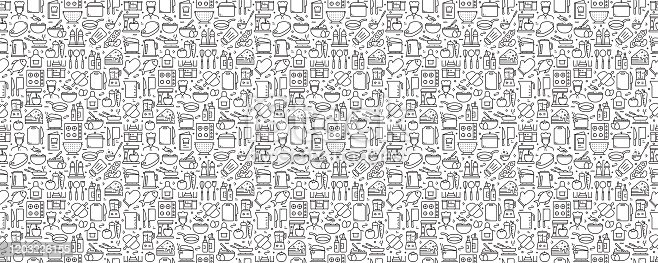 istock Cooking Related Seamless Pattern and Background with Line Icons 1203226155