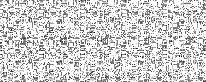 Cooking Related Seamless Pattern and Background with Line Icons