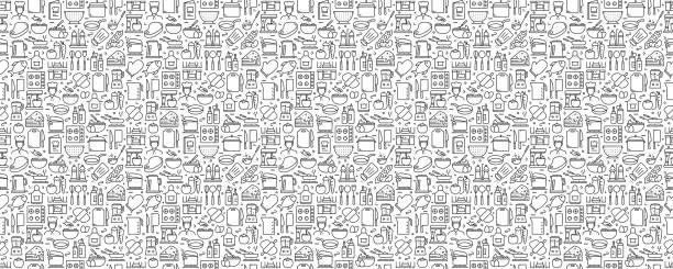 Cooking Related Seamless Pattern and Background with Line Icons Cooking Related Seamless Pattern and Background with Line Icons kitchenware department stock illustrations