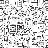 istock Cooking Related Seamless Pattern and Background with Line Icons 1206200670