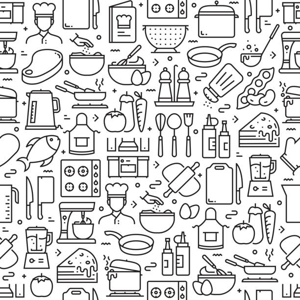 Cooking Related Seamless Pattern and Background with Line Icons Cooking Related Seamless Pattern and Background with Line Icons cooking designs stock illustrations