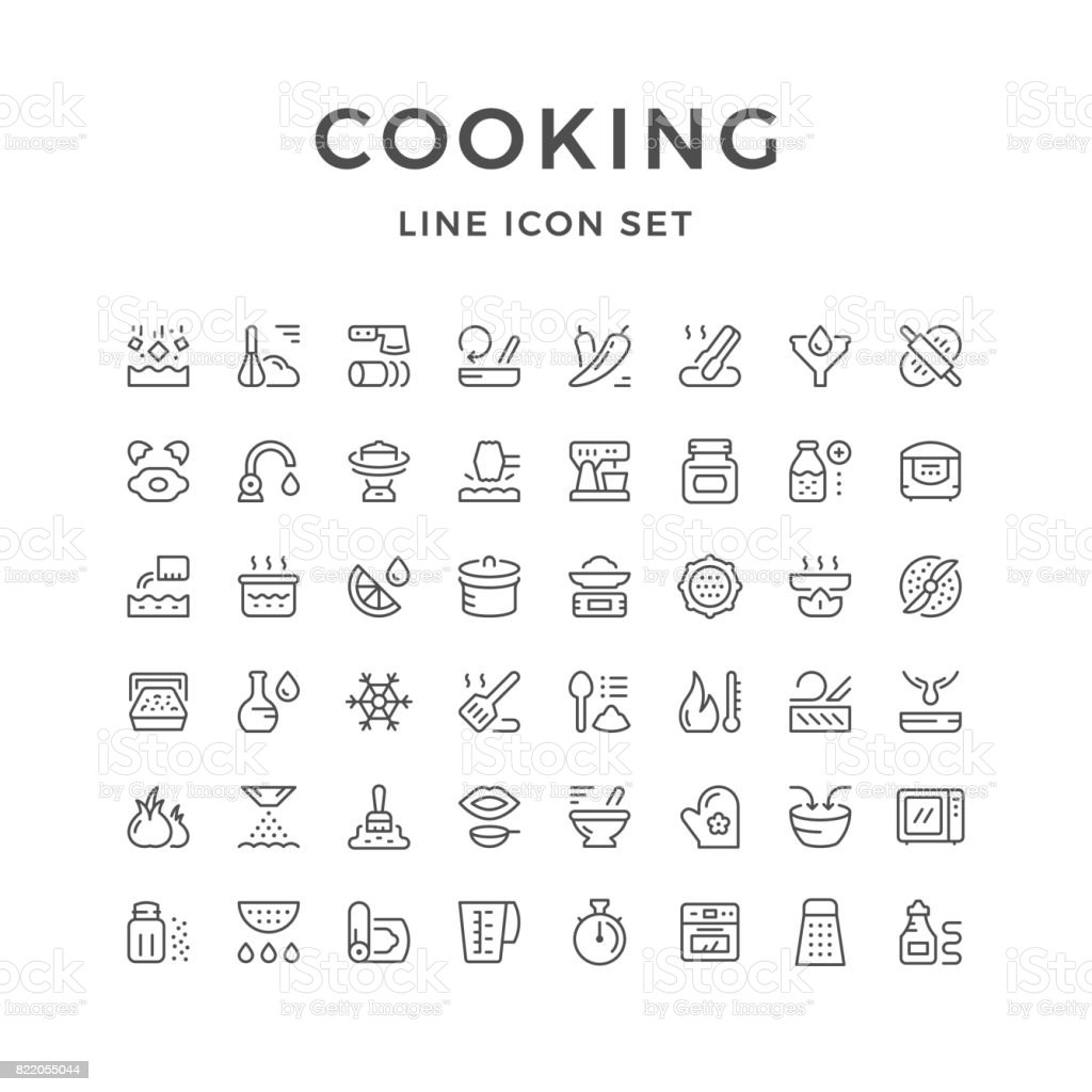 Cooking related set line icons vector art illustration