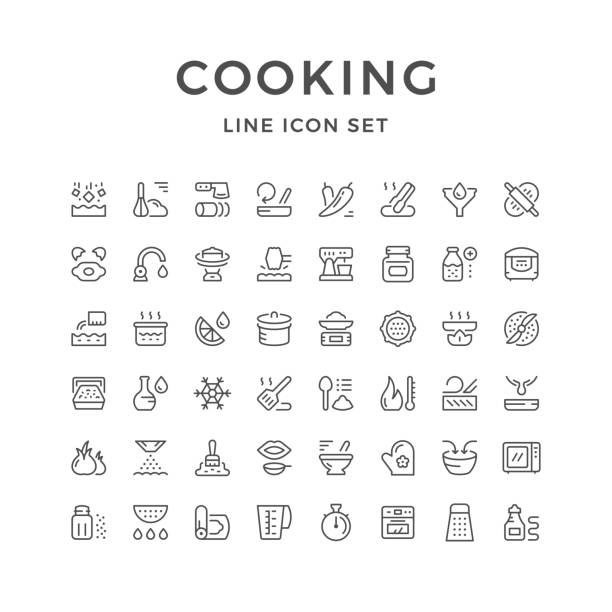 stockillustraties, clipart, cartoons en iconen met koken gerelateerde set lijn pictogrammen - meat pan