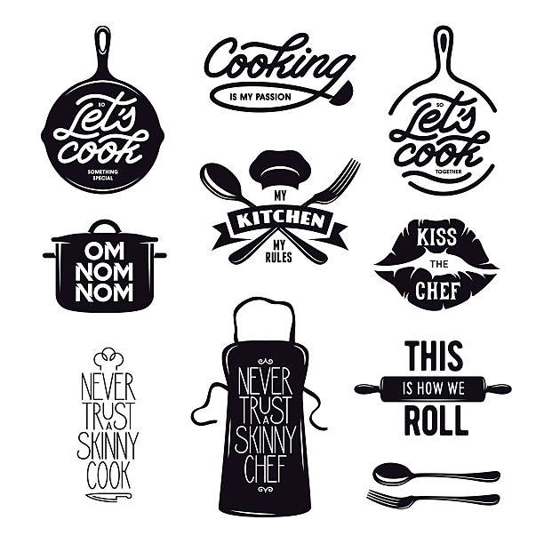 Cooking related typography set. Quotes about kitchen. Vintage vector illustration. Cooking related typography set. Quotes about kitchen. Cooking wordings. Bon appetit. Never trust a skinny chef. Vintage vector illustration. apron stock illustrations