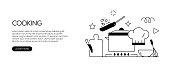 Cooking Related Web Banner Line Style. Modern Linear Design Vector Illustration for Web Banner, Website Header etc.