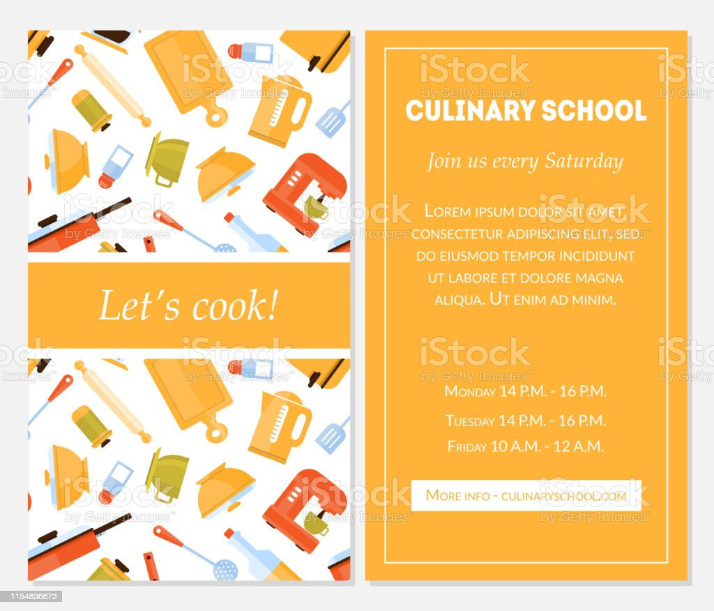 Cooking School Banner Template Lets Cook Invitation Card With Place For Text And Kitchen Utensils For Food Preparation Vector Illustration Stock Illustration Download Image Now Istock