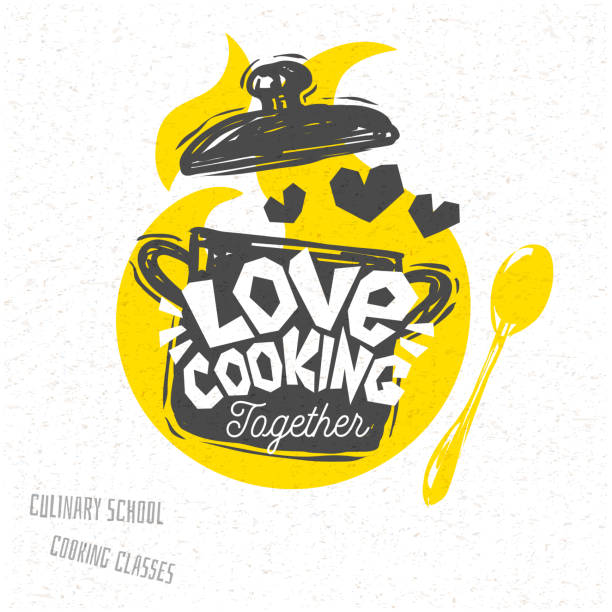 Cooking school, culinary classes, studio, logo, utensils, apron, fork, knife, master chef. Cooking school culinary classes logo utensils apron, fork, knife, master chef. Lettering, calligraphy logo, sketch style, welcome. Hand drawn vector illustration. kitchenware department stock illustrations