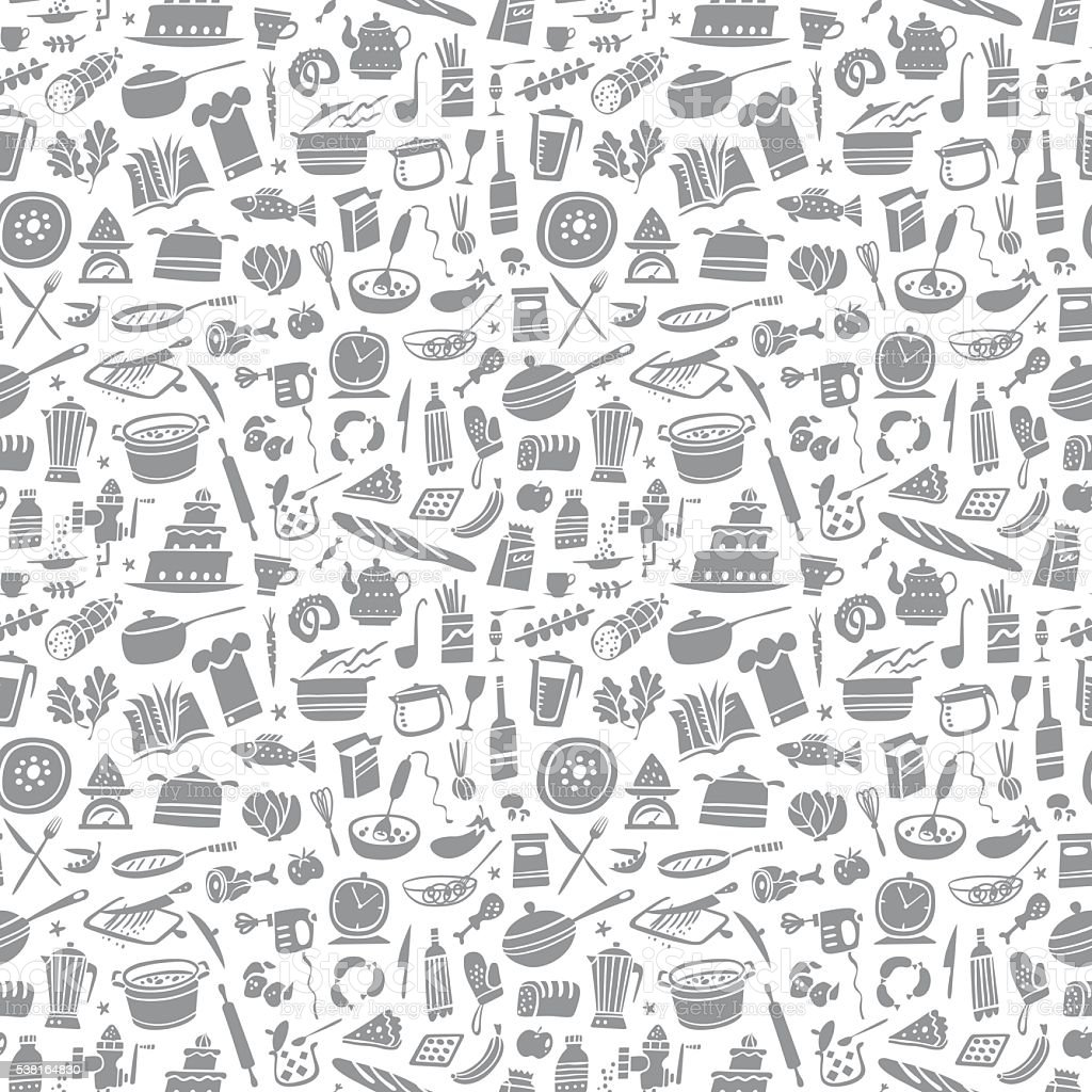 cooking seamless background vector art illustration