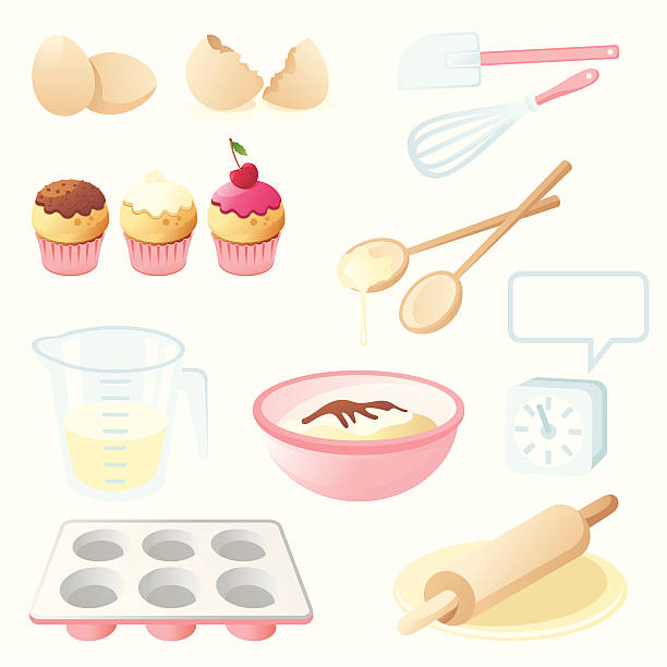 stockillustraties, clipart, cartoons en iconen met cooking set - een taart bakken