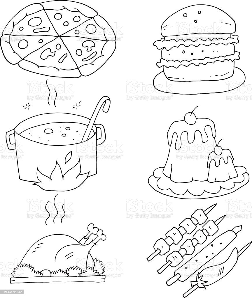 Cooking Sketch Drawings For Colouring Book Stok Vektor Sanati