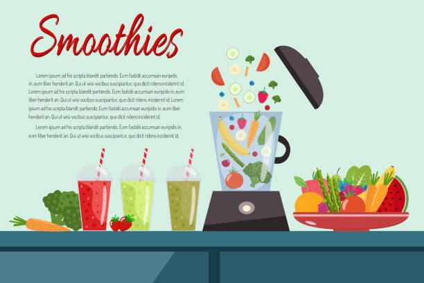 bildbanksillustrationer, clip art samt tecknat material och ikoner med matlagning smoothies. tallrik full av grönsaker och frukt. matberedare mixer - smoothie