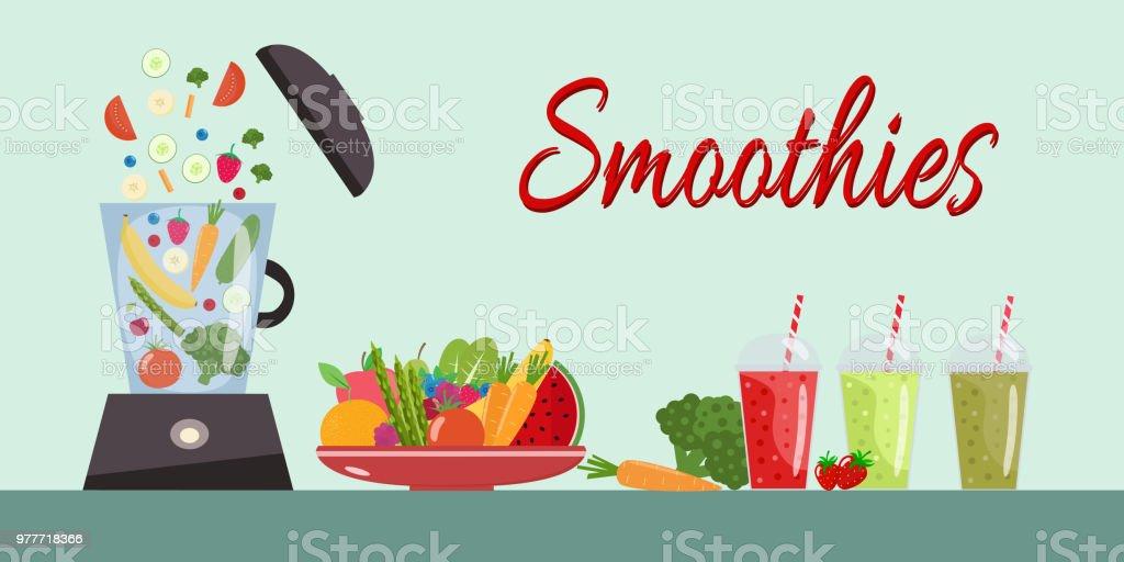 Kochen Smoothies Teller Voll Mit Gemuse Und Obst Mixer