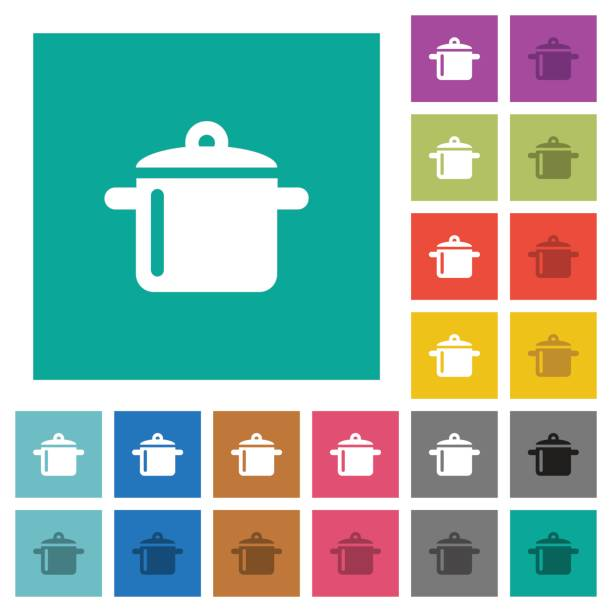 kochen quadrat flach multi farbige symbole - winkelküche stock-grafiken, -clipart, -cartoons und -symbole