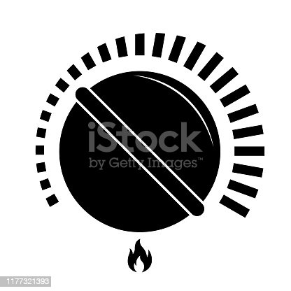 Stove or gas knob black isolated vector illustration