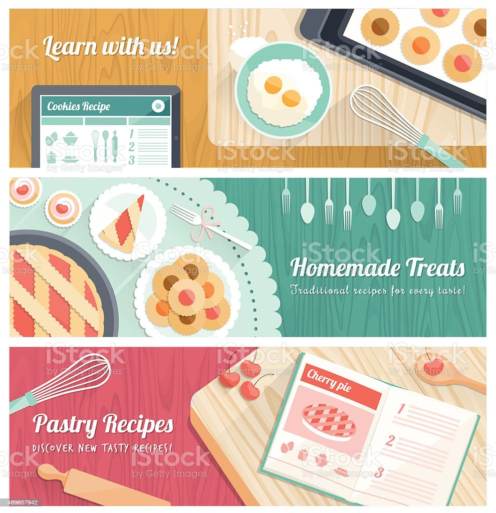 Cooking tasty pastries vector art illustration
