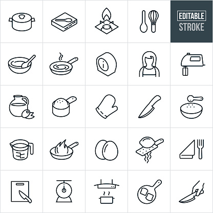Cooking Thin Line Icons - Editable Stroke