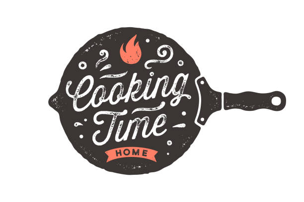 Cooking Time. Kitchen poster. Kitchen Wall Decor, Sign, Quote Cooking Time. Kitchen poster. Kitchen wall decor, sign, quote. Poster for kitchen design with frying pan and calligraphy lettering text Cooking Time. Vintage typography. Vector Illustration frying pan stock illustrations