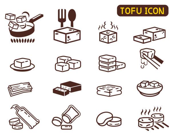 stockillustraties, clipart, cartoons en iconen met koken tofu icoon collectie. aziatische keuken ingrediënt. - vleesvervanger
