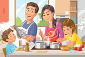 Vector illustration of a happy family preparing a healthy dinner in the kitchen.