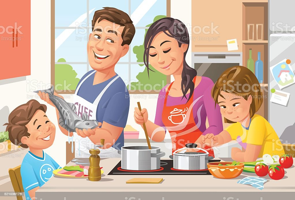 Cooking Together vector art illustration