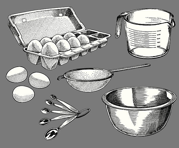 cooking tools - carton of eggs, measuring cup - mixing bowl stock illustrations, clip art, cartoons, & icons