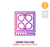 Cooking tools vector icon illustration for logo, emblem or symbol use. Part of continuous one line minimalistic drawing series. Design elements with editable gradient stroke.