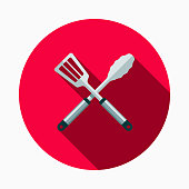 istock Cooking Tools Flat Design BBQ Icon with Side Shadow 910710462
