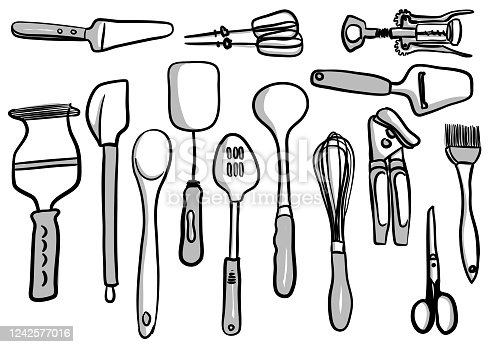 Collection of kitchen accessories like spatulas, spoons, scissors, potato masher egg beaters, wine bottle opener, can opener, and more