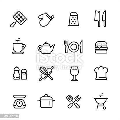 16 line black on white icons / Set #50 Pixel Perfect Principle - all the icons are designed in 48x48pх square, outline stroke 2px.  First row of outline icons contains:  Barbecue Grill, Oven Mitt, Grater, Meat Clever and Kitchen Knife;  Second row contains:  Cup, Teapot, Plate with Fork and Knife, Hamburger;  Third row contains:  Salt and Pepper Shaker, Crossed Rolling Pin and Wire Whisk, Wineglass, Chef's Hat;   Fourth row contains:  Kitchen Weight Scale, Cooking Pan, Crossed Spatula and Kitchen Fork, Charcoal Grill.  Complete Inlinico collection - https://www.istockphoto.com/collaboration/boards/2MS6Qck-_UuiVTh288h3fQ