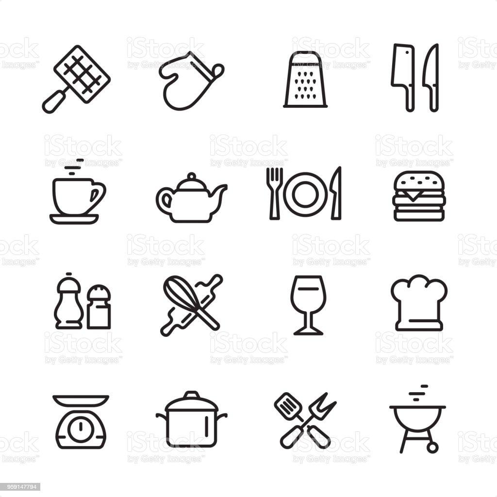 Cooking utensil - outline icon set vector art illustration