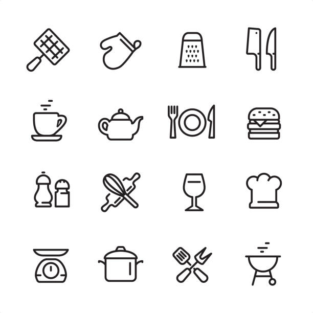 Cooking utensil - outline icon set 16 line black on white icons / Set #50 Pixel Perfect Principle - all the icons are designed in 48x48pх square, outline stroke 2px.  First row of outline icons contains:  Barbecue Grill, Oven Mitt, Grater, Meat Clever and Kitchen Knife;  Second row contains:  Cup, Teapot, Plate with Fork and Knife, Hamburger;  Third row contains:  Salt and Pepper Shaker, Crossed Rolling Pin and Wire Whisk, Wineglass, Chef's Hat;   Fourth row contains:  Kitchen Weight Scale, Cooking Pan, Crossed Spatula and Kitchen Fork, Charcoal Grill.  Complete Inlinico collection - https://www.istockphoto.com/collaboration/boards/2MS6Qck-_UuiVTh288h3fQ domestic kitchen stock illustrations