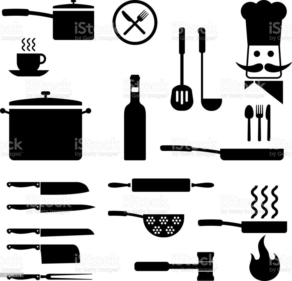 Set Of Black Kitchen Icons Utensils Stock Vector: Cooking Utensils Kitchen Royalty Free Vector Icon Set