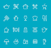 """Pixel Perfect - Isolated on Blue - Icon Set #48 Icons are designed in 48x48pх square, outline stroke 2px.  First row of outline icons contains: Teapot, Crossed Rolling Pin and Wire Whisk, Cooking Pan, Crossed Spatula and Kitchen Fork, Charcoal Grill;  Second row contains: Barbecue Grill, Milk Bottle, Wineglass, Chef""""s Hat, Meat Cleaver and Kitchen Knife;  Third row contains: Cup, Crockery, Grater, Weight Scale, Oven Mitt;   Fourth row contains: Serving Tray, Mixed Bowl, Salt and Pepper Shaker, Hamburger, Latte.  Complete Bimico collection - https://www.istockphoto.com/collaboration/boards/t8tfiS1uqEecwP9AO9SJmw"""