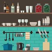 Cooking utensils on shelves.