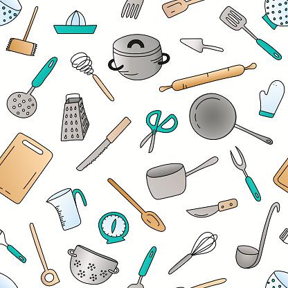 Cooking utensils seamless pattern