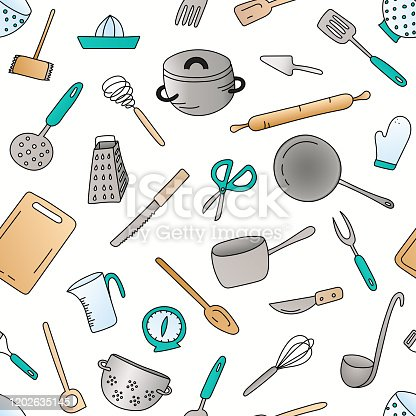 A colorful kitchen utensils hand drawn ditsy seamless pattern. EPS10 vector illustration, global colors, easy to modify.