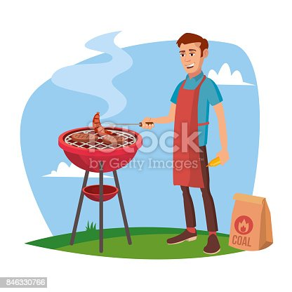BBQ Grill Meat Cooking Vector. Man Cooking Meat. Outdoor Rest. Cartoon Character Illustration