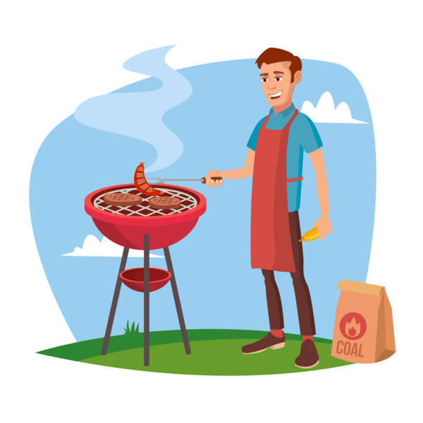 BBQ Cooking Vector. Classic American Smiling Man Barbecuing. Isolated On White Cartoon Character Illustration - illustrazione arte vettoriale